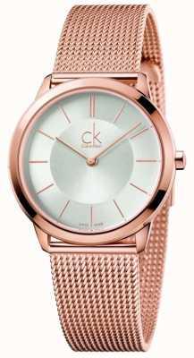 Calvin Klein Womens Minimal Roségold Tone Mesh Silber Zifferblatt K3M22626