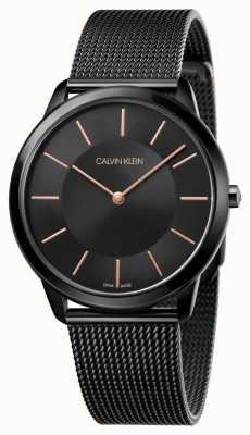 Calvin Klein Herren Minimaluhr | schwarzes edelstahlgitterarmband | K3M21421