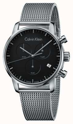Calvin Klein Mens City Chronograph Edelstahl schwarzes Zifferblatt K2G27121
