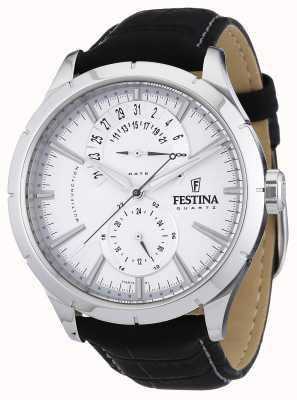 Festina Herren schwarzes Lederband weiß F16573/1