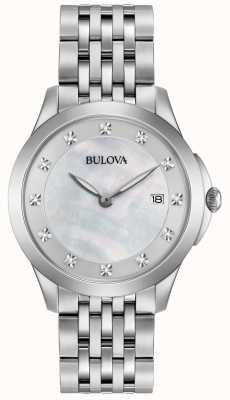 Bulova Womans Edelstahl Silber Diamant 96S174