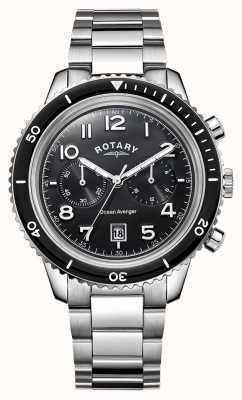 Rotary Mens Ozean Avenger Chronograph schwarzes Zifferblatt GB05021/04