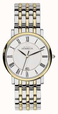 Michel Herbelin Mens zwei Ton-Edelstahl-Silber-Gold-Gurt 12543/BT01