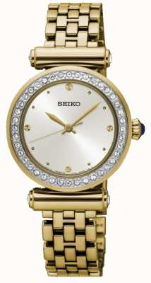 Seiko Frauen vergoldet Stahl weißes Zifferblatt SRZ468P1