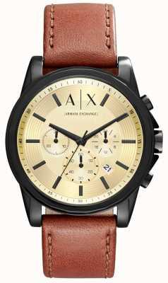 Armani Exchange Herren-Chronograph braunes Lederarmband AX2511