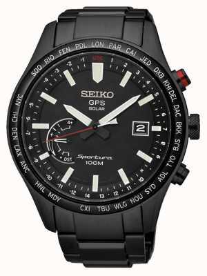 Seiko Sportura gps unaufhörlichen Solar Chronograph schwarz ionen plattierte SSF005J1
