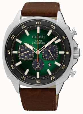 Seiko Mens solarbetriebene reflektierende grüne Wahllederarmband SSC513P9