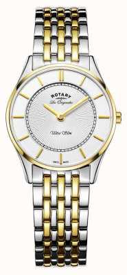Rotary Frau ultraschlanke uhr | zweifarbiges Edelstahl- / DVD-Armband | LB90801/41