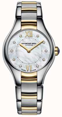 Raymond Weil Womans noemia zwei Ton 10 Diamant-Perlmutt-Zifferblatt 5124-STP-00985