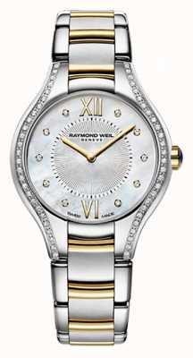 Raymond Weil Womans zweifarbige Noämie 62 Diamant Perlmutt 5124-SPS-00985