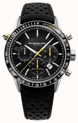 Raymond Weil Mens automatischer schwarzer Chronograph schwarzes Lederband 7740-SC1-20021