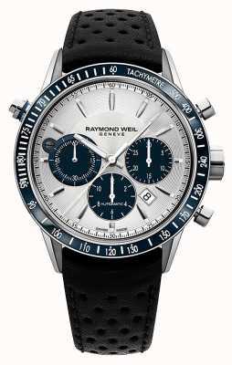 Raymond Weil Mens automatische Weiß Chronograph schwarzes Lederarmband 7740-SC3-65521