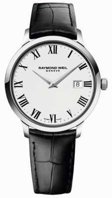 Raymond Weil Schlankes weißes schwarzes Herren Lederband 5488-STC-00300