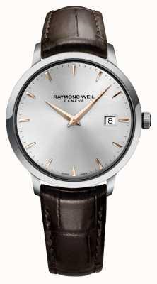 Raymond Weil Herren schmales silberbraunes Lederarmband 5488-SL5-65001