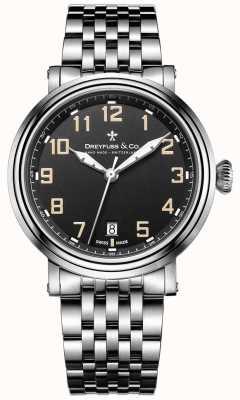 Dreyfuss Edelstahl 1924 Armband schwarzes Zifferblatt DGB00152/19