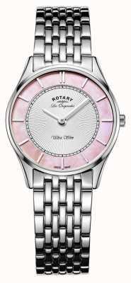 Rotary Damen Edelstahlarmband rosa Perlmutt-Zifferblatt LB90800/07