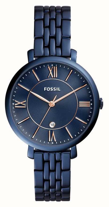 fossil uhr damen blau lederarmband