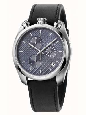 Calvin Klein Steuer schwarzem Leder Chronograph K6Z371C4