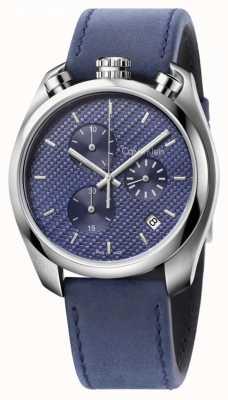 Calvin Klein Mens Steuer Uhr blaues Leder blaues Zifferblatt K6Z371VN