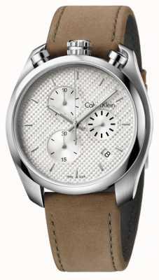 Calvin Klein Mens steuern braunem Leder Chronograph K6Z371G6