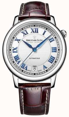 Dreyfuss Herren Edelstahl 1925 Uhr mit braunem Lederarmband DGS00148/01