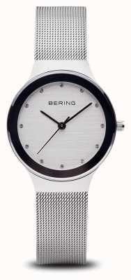 Bering Frau | Edelstahl Silber Mesh Armband | weißes Gesicht | 12934-000