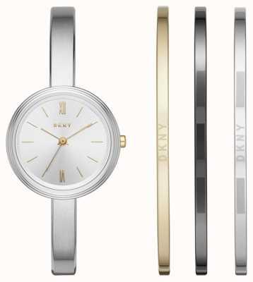 DKNY Womans Silber Uhr 3 Armreif Geschenkset NY2577