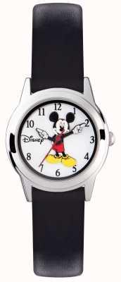 Disney Adult Mickey Mouse Kinder silbernes Gehäuse schwarzes Armband MK1314