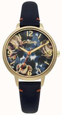 Cath Kidston Damen tiefblaue Leder Oxford stieg Uhr CKL001UG