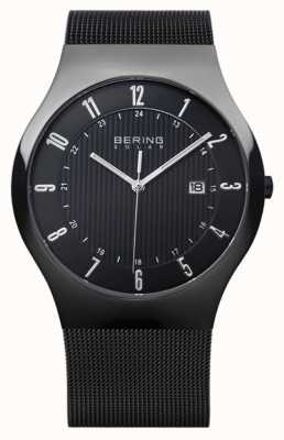 Bering Mens Solar Milanese schwarzes Mesh-Armband 14640-222