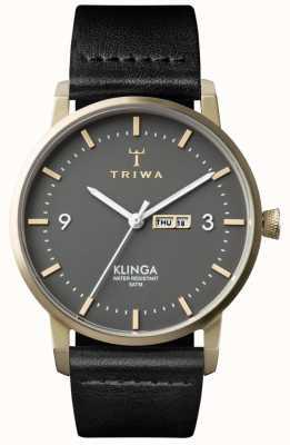 Triwa Unisex Asche klinga schwarzem Leder KLST107-CL010117