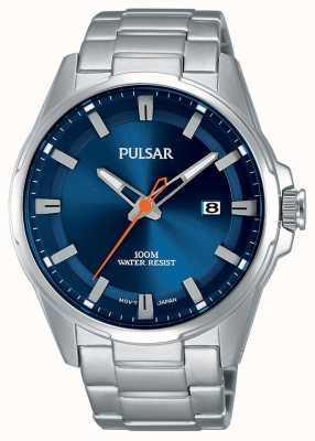 Pulsar Gents Edelstahl blaue Gesicht Uhr PS9505X1
