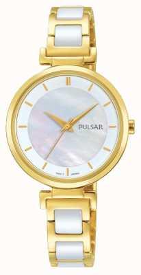 Pulsar Damen vergoldet / keramische Kleid Uhr PH8272X1