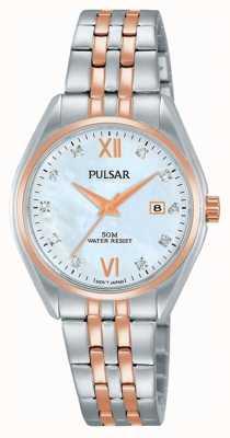 Pulsar Damen zwei Ton Perle Zifferblatt Uhr PH7458X1