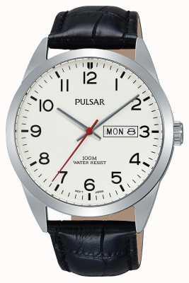 Pulsar Herren klassische schwarze Lederuhr PJ6065X1