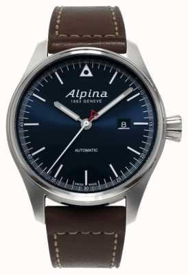 Alpina Herren braunes Lederarmband mit blauem Zifferblatt AL-525N4S6
