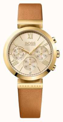 Boss Klassisches sportbraunes Damen Lederarmband mit goldenem Zifferblatt 1502396