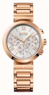 Hugo Boss Damen klassischen Sport Rose Goldarmband silbernes Zifferblatt überzogen 1502399