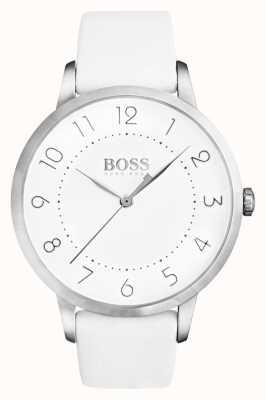 Boss Damen Eclipse weißes Lederarmband weißes Zifferblatt 1502409