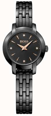 Boss Damen Erfolg schwarz beschichtetes Stahlband schwarzes Zifferblatt 1502387