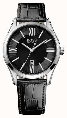 Hugo Boss Herren Botschafter schwarzes Lederband Zifferblatt schwarz 1513022
