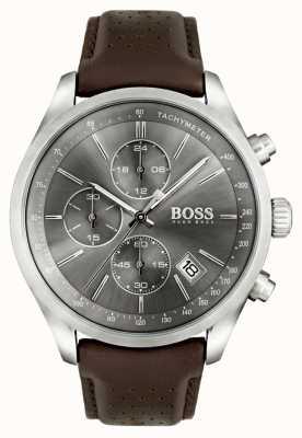 Hugo Boss Mens Grand-Prix-braunes Lederarmband Zifferblatt grau 1513476