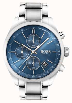Boss Mens Grand Prix Edelstahl blaues Zifferblatt 1513478