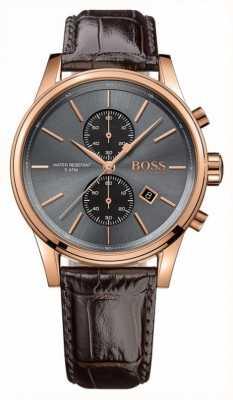 Boss Mens Jet braunes Lederband Zifferblatt grau 1513281