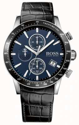 Hugo Boss Mens rafale schwarzes Lederarmband blaues Zifferblatt 1513391