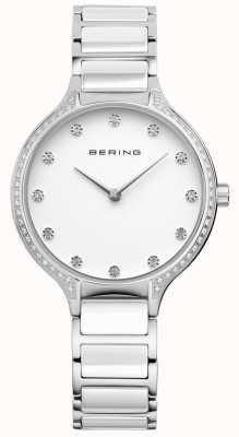 Bering Damen weiße Keramik Zirkonia Set Uhr 30434-754