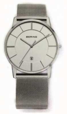 Bering Mens klassische Mesh-Armbanduhr weißes Zifferblatt 13139-000