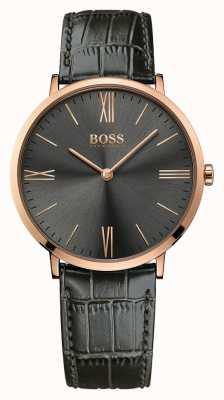 Hugo Boss Mens jackson graues Leder Uhr 1513372