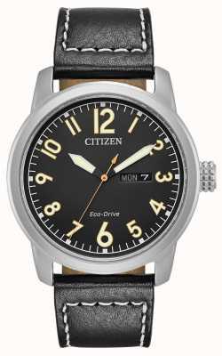 Citizen Mens eco drive schwarzes Leder krämer BM8471-01E