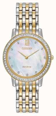 Citizen Womans Eco-Drive Silhouette Kristall Gold mit zwei Tönen EX1484-57D